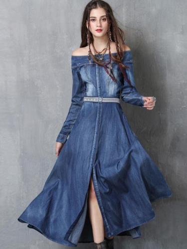 Embroidery Solid Color Sashes Slash Neck Long Sleeves Maxi Dresses