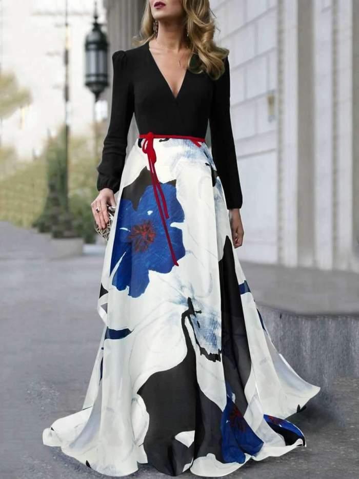 Sexy V neck Long sleeve Skater Maxi Dresses