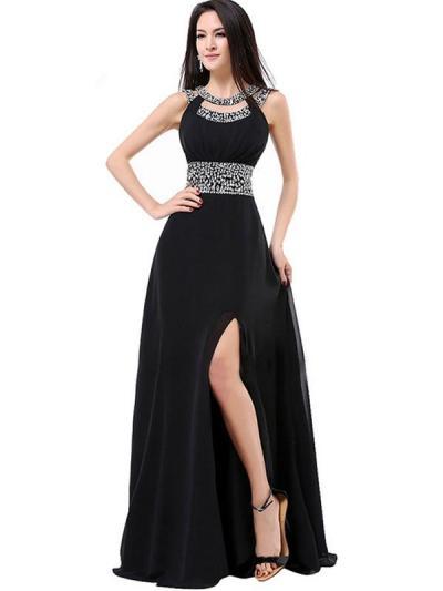 Designer Sequined Contrast O-Neck Backless Long Prom Dresses