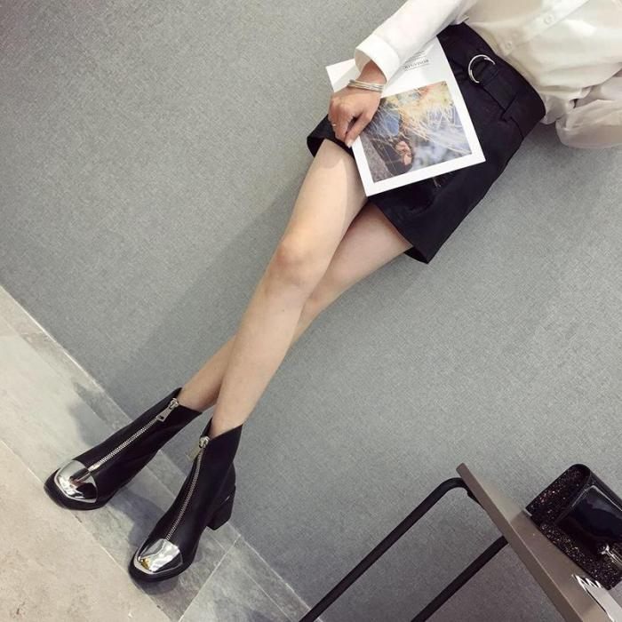 New Fashion Front zipper Chunky heel Boots