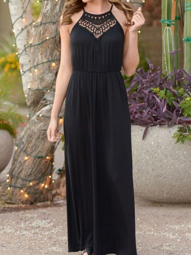 Spaghetti Strap  Elastic Waist  Hollow Out Maxi Dress
