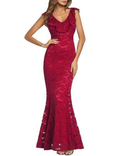 Lace Mermaid Slim Fit Sleeveless Evening Dress