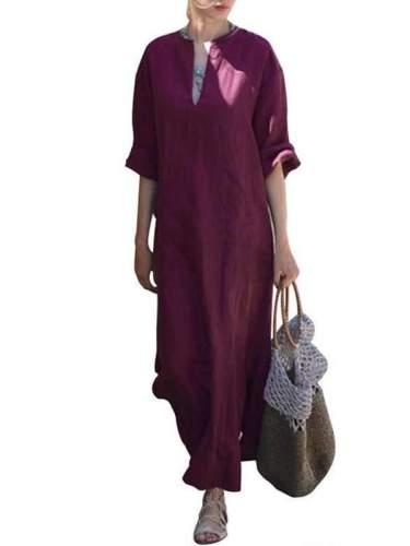 Oversized Women Long Sleeve Solid Cotton Maxi Dress