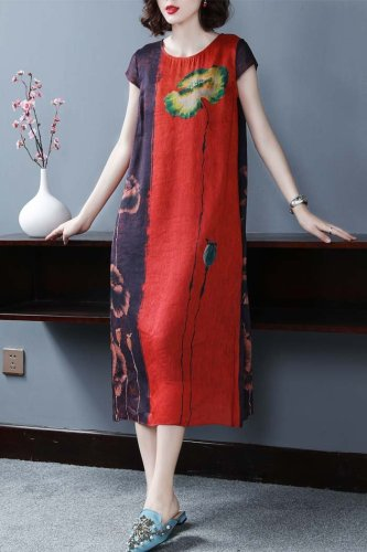 Short sleeve printed silk midi dress