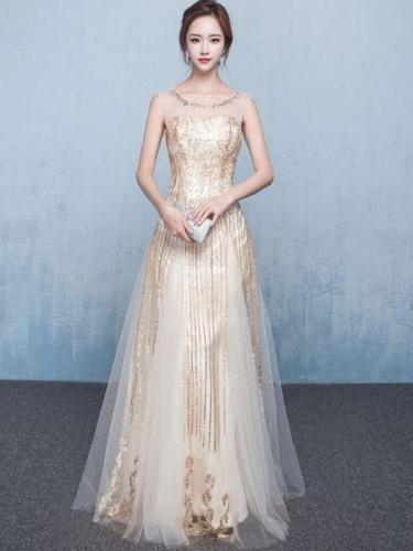 Sequined Contrast O-Neck Sleeveless Backless Long Prom Wedding Dress Evening Dresses