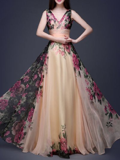 Flory Elegant V Neck Sexy Woman Evening Dresses