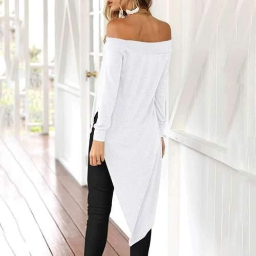 Sexy Off shoulder Long sleeve Irregular T-Shirts