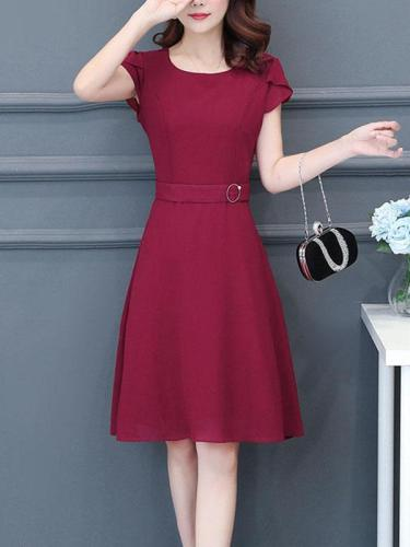 Women Elegant Large Size OL Commuting A Line Skater Dress