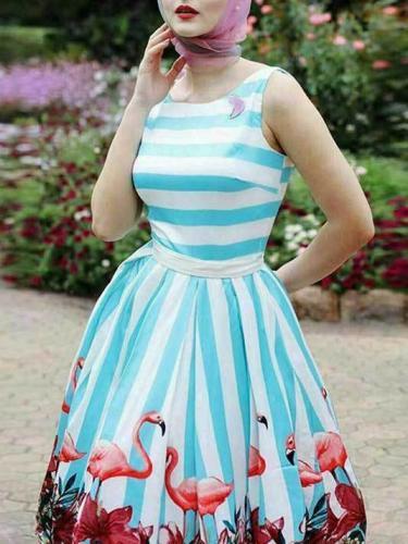 Striped Printed Sleeveless Mini Dress