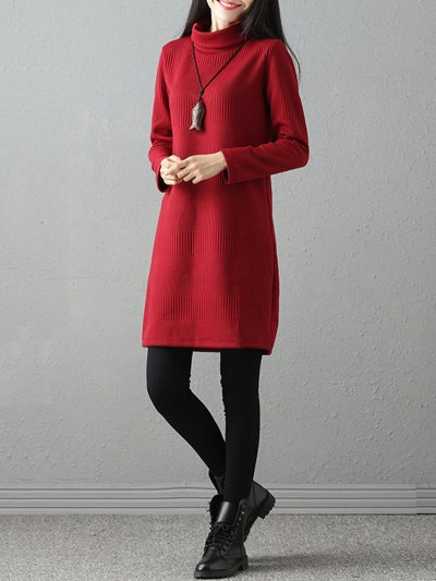 Long Sleeve Solid Shift Cowl Neck Sweater