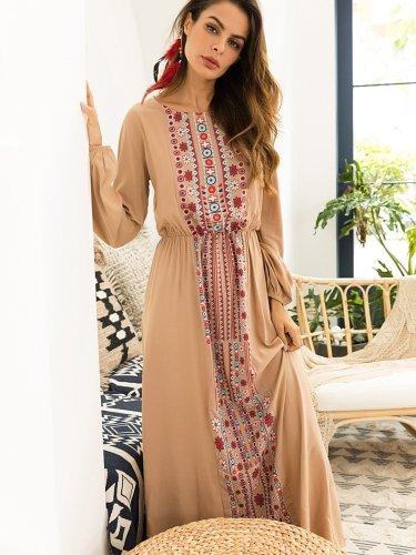 New Women Floral Long sleeve Maxi Dresses