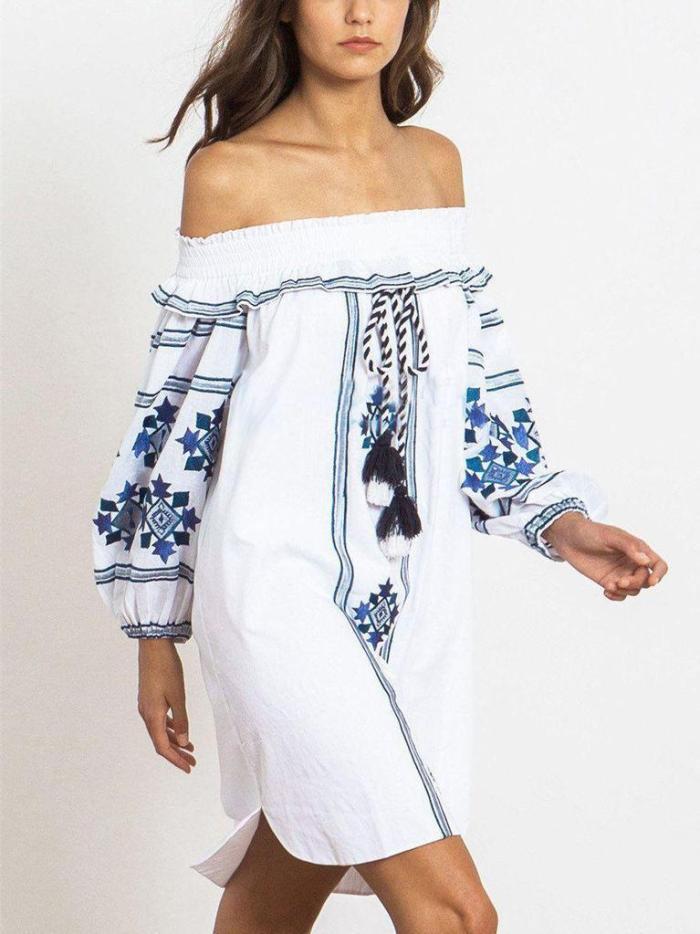 Pretty Embroidery Off-the shoulder Tassels Mini Dress