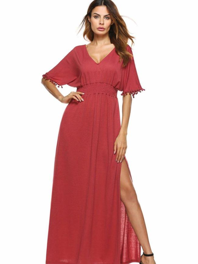 Simple Red V-Neck Short Sleeve Elastic Waist Evening Dress