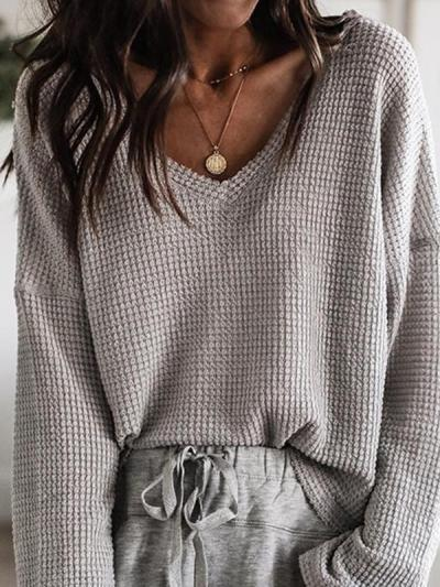 Loose v-neck top long sleeves T-shirts