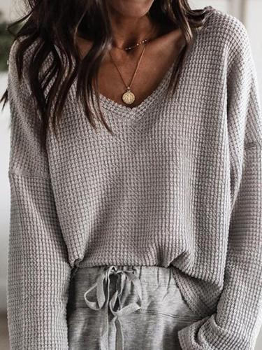 Loose v-neck top long sleeves T-shirts