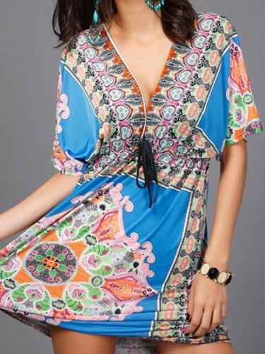 Beautiful Bohemia Floral Print Short Sleeve V Neck Mini Dress