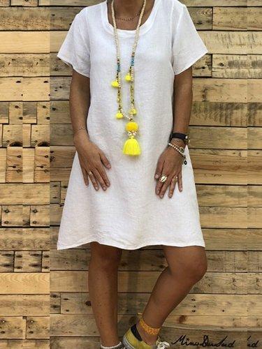 Round Neck Short Sleeve Plain Casual Shift Dress
