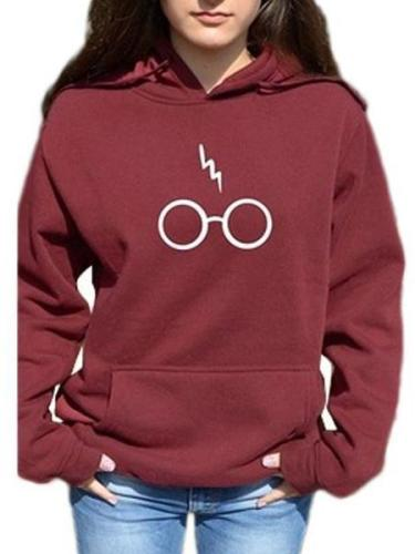 Early Autumn Fashion Carton Glasses Printed Hoodies