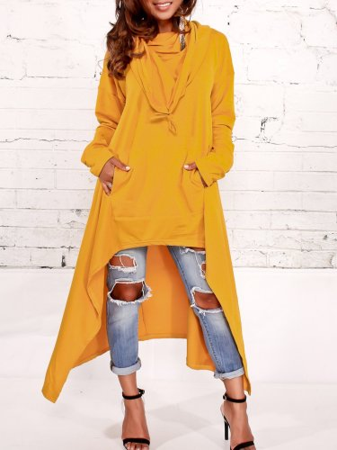 Asymmetric Long Sleeve Hoodie Sweatshirt