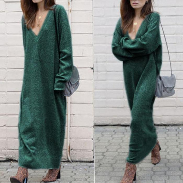 Women Sexy Autumn Basic Long Sleeve Knitted Bodycon Sweater Maxi Dress