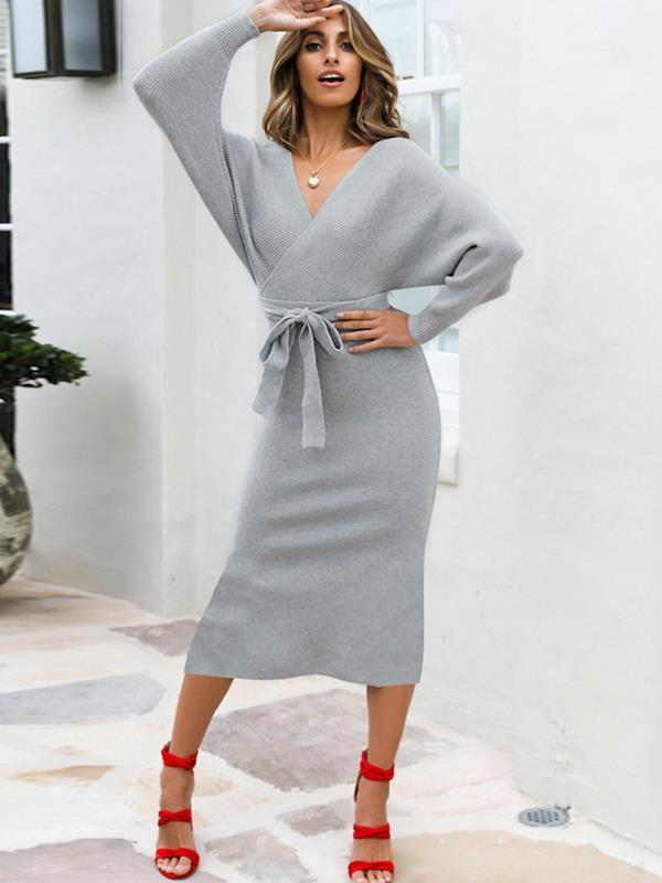 Sexy women plain knit long sleeve tie waist bodycon dresses