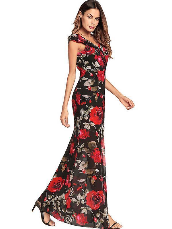 V-neck Backless Split-side Bohemia Dresses