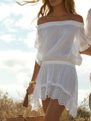 Off Shoulder Hollow Mini Dress