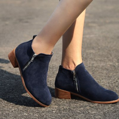 Vintage Daily Zipper Ankle Boots Woman Martin Boots