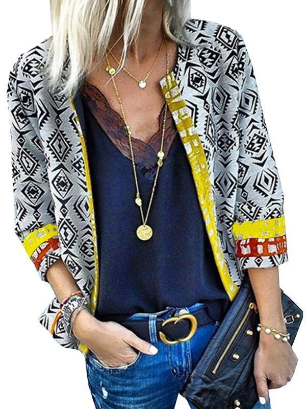 Women's printed long sleeve cardigan blazer
