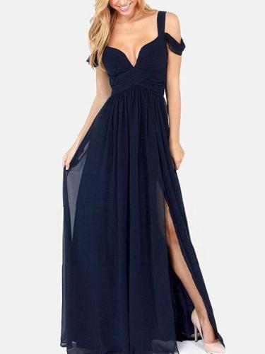 Solid Color Straps Split-side V-neck Maxi Dress