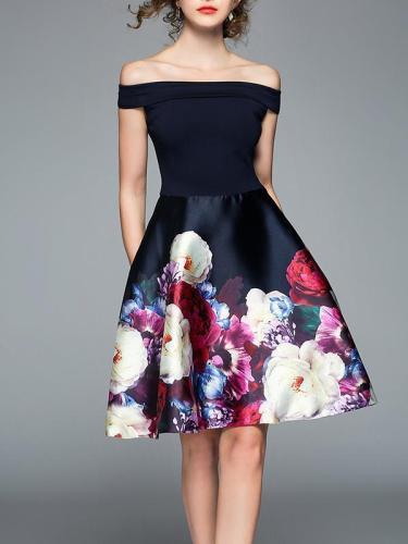 Elegant Printed Slim Fit Mini Dress