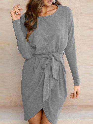 Round Neck  Asymmetric Hem  Belt  Plain Casual Dresses