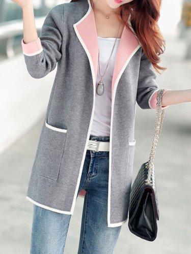 Multicolor Sweater Coat Cardigans Woman Outerwear
