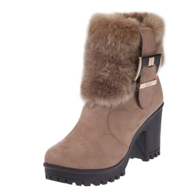 Plain  Stiletto  High Heeled  Faux Suede  Casual Boots