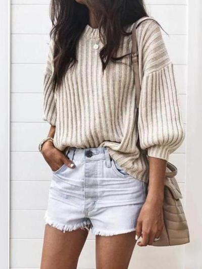 Round neck plain fashion top sweaters