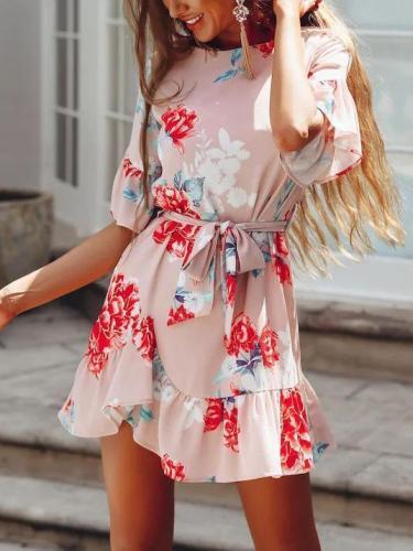 Bohemia Floral Falbala Mini Dresses