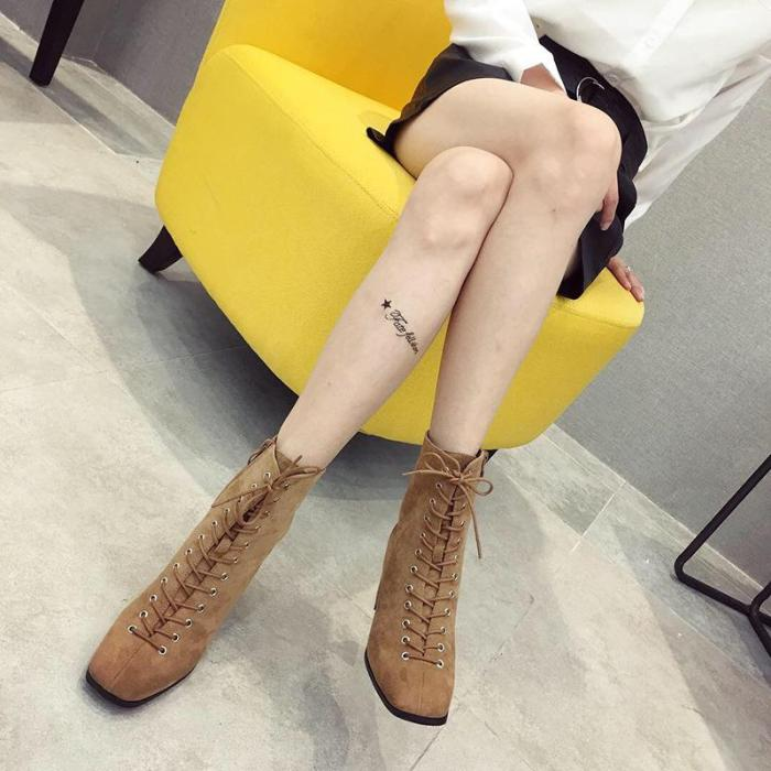 Fashion Lace Chunky Ankle boot