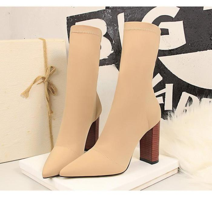 Fashion Wood Chunky heels Pointed Toe Sexy Boots