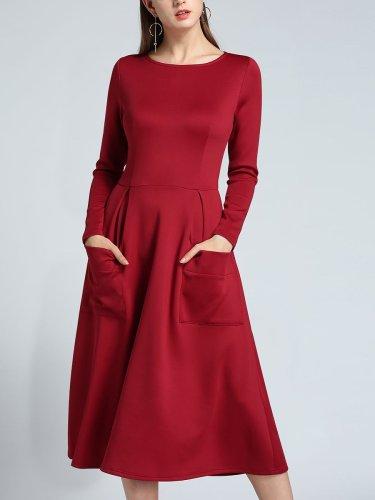 Plain With Pocket Fashion Woman Autumn Long Sleeve Skater Dresses