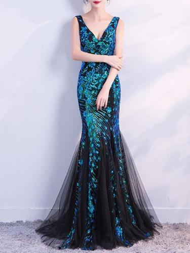 V-neck Sleevelss Mermaid Evening Dress