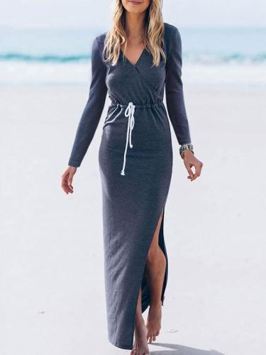 Simple V-neck Split-side Maxi Dress