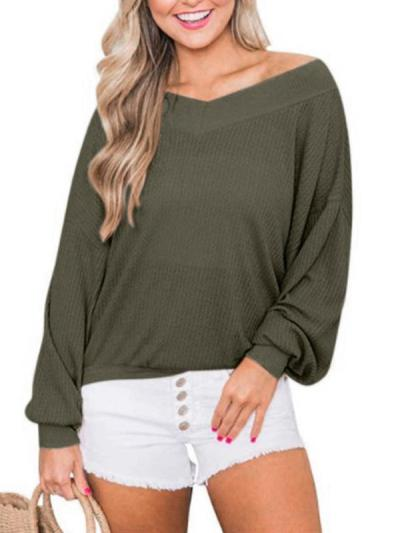 V-neck drop-sleeve loose waffle style long-sleeve T-shirts