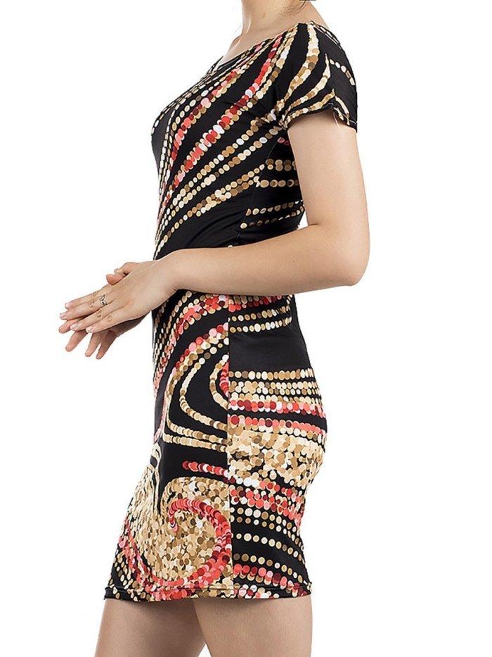 Round Neck  Abstract Print Bodycon Dress