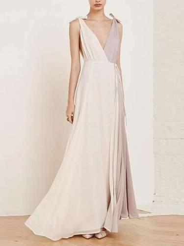 Fashion V Collar Split Joint Chiffon Maxi Dress