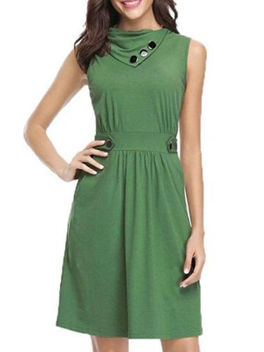 Women Patchwork POLO Lapel Sleeveless Elegant Skater Dresses