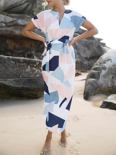Beautiful Printed-Floral Short Sleeve V Neck Lace-Up Maxi Dress