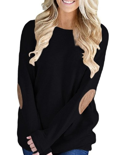 Batwing  Sleeve  Patchwork  Round  Neck T-Shirt