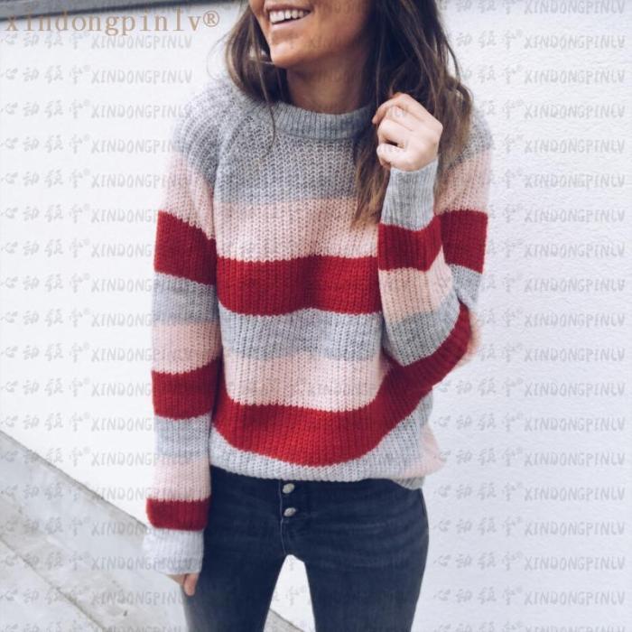 Round Neck Striped Colorblock Sweater