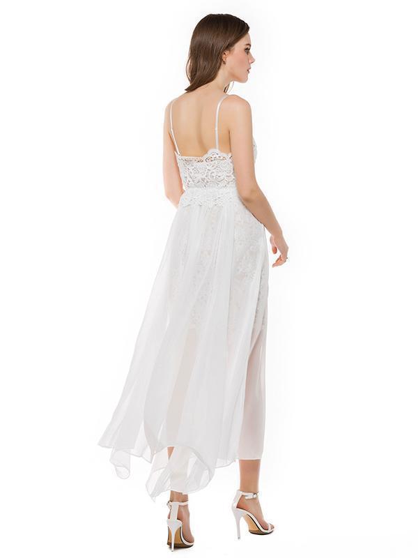 Chiffon Split-side Spaghetti-neck Evening Dress