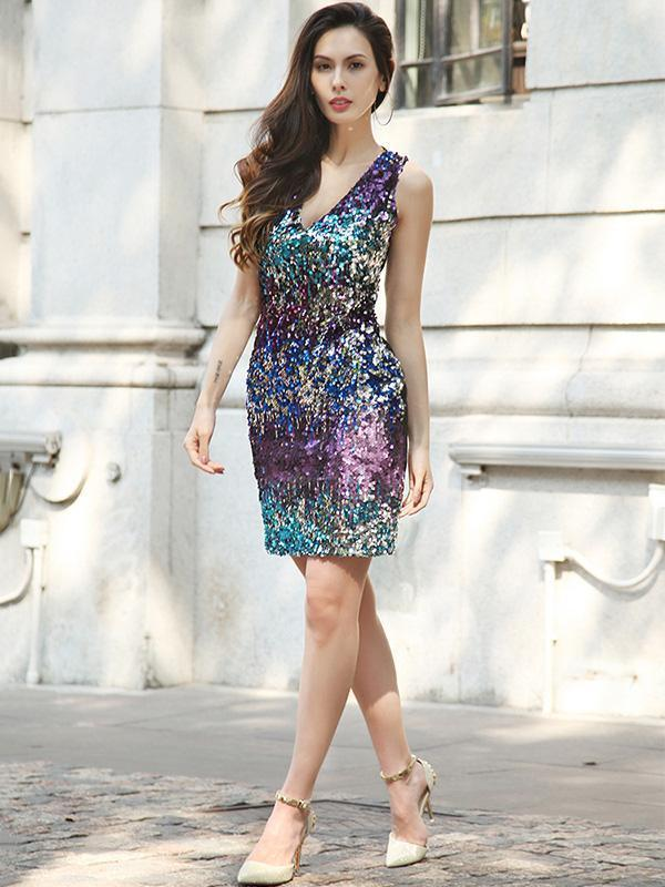 Deep V-neck Sequined Mini Evening Dress